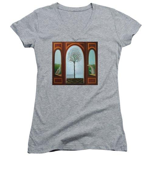 Belgian Triptyck Women's V-Neck T-Shirt (Junior Cut) by Tone Aanderaa