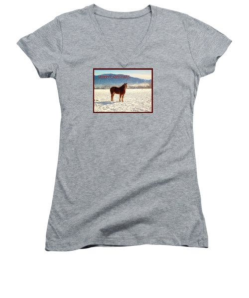 Women's V-Neck T-Shirt (Junior Cut) featuring the photograph Belgium Draft Horse Christmas by Deborah Moen