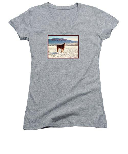 Belgium Draft Horse Christmas Women's V-Neck T-Shirt (Junior Cut) by Deborah Moen