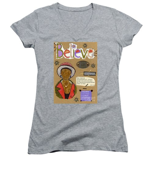 Women's V-Neck T-Shirt (Junior Cut) featuring the mixed media Believe Me by Angela L Walker