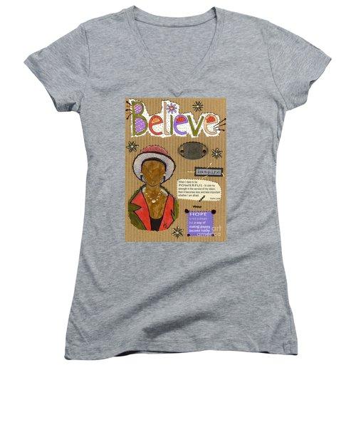 Believe Me Women's V-Neck T-Shirt (Junior Cut) by Angela L Walker