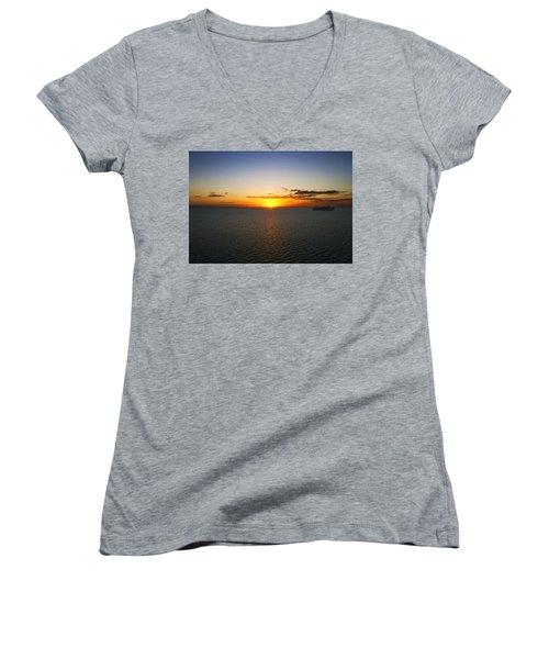 Belize Sunset Women's V-Neck T-Shirt (Junior Cut) by Marlo Horne