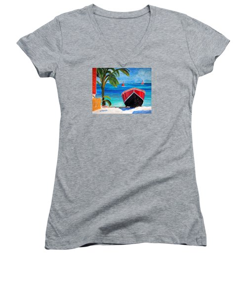 Women's V-Neck T-Shirt (Junior Cut) featuring the painting Belizean Dream by Janet McDonald