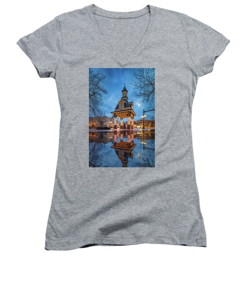 Women's V-Neck T-Shirt (Junior Cut) featuring the photograph Bell Tower  In Beaver  by Emmanuel Panagiotakis