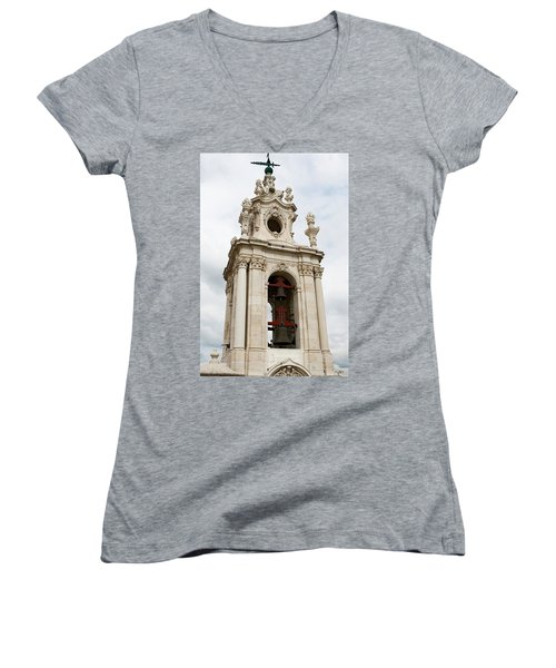 Women's V-Neck T-Shirt (Junior Cut) featuring the photograph Bell Tower With Red   by Lorraine Devon Wilke