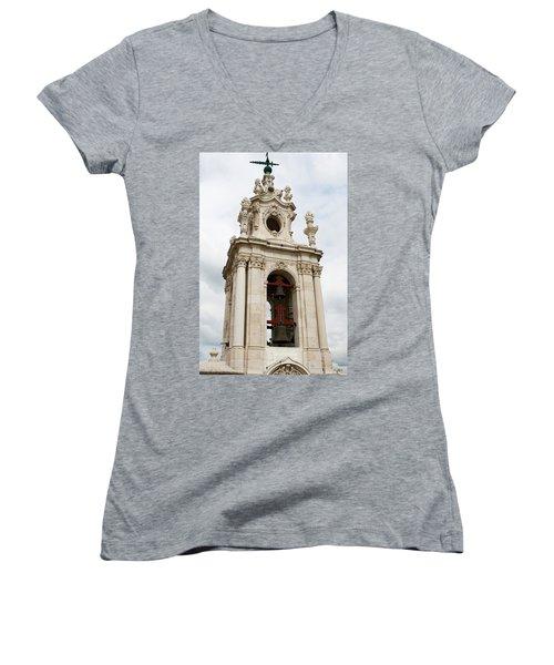 Bell Tower With Red   Women's V-Neck T-Shirt (Junior Cut) by Lorraine Devon Wilke