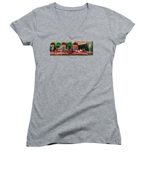 Bellagio Christmas Train Decorations Panorama 2017 Women's V-Neck (Athletic Fit)