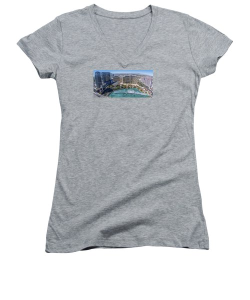 Bellagio Fountains In The Afternoon Women's V-Neck T-Shirt (Junior Cut) by Aloha Art