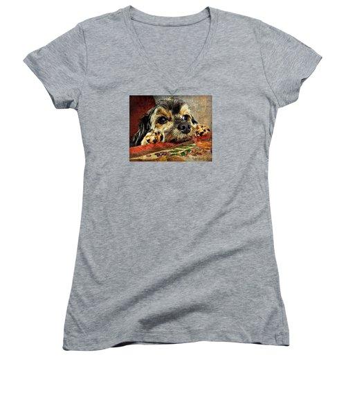 Bella's Thanksgiving Women's V-Neck T-Shirt (Junior Cut) by Kathy M Krause