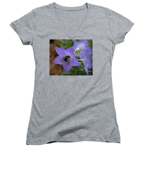 Women's V-Neck T-Shirt (Junior Cut) featuring the photograph Bellflower And Bee  by Marie Hicks