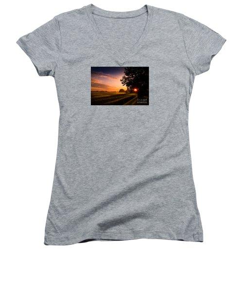 Beloved Land Women's V-Neck T-Shirt (Junior Cut) by Franziskus Pfleghart