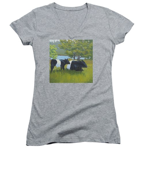 Belted Galloway And Calf Women's V-Neck (Athletic Fit)