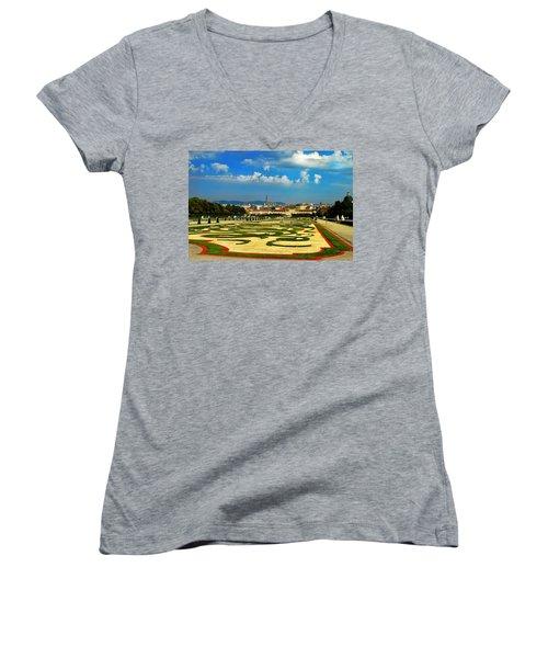 Women's V-Neck T-Shirt (Junior Cut) featuring the photograph Belvedere Palace Gardens by Mariola Bitner