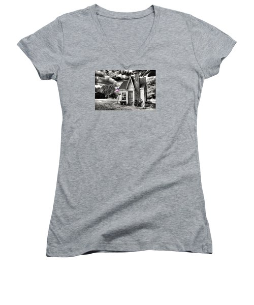 Women's V-Neck T-Shirt (Junior Cut) featuring the digital art Bem Store Pumphouse by William Fields