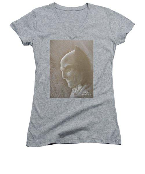 Ben As Batman Women's V-Neck T-Shirt (Junior Cut) by Josetta Castner