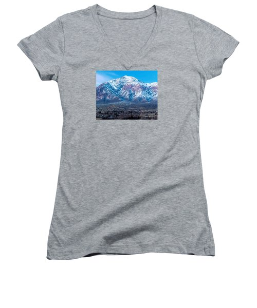 Ben Lomond At Dusk Women's V-Neck (Athletic Fit)