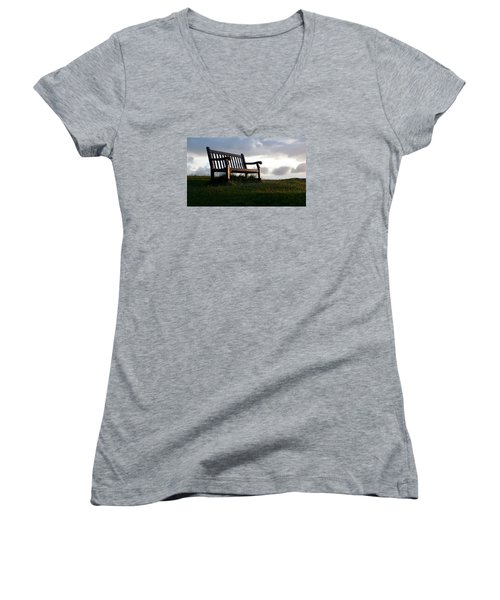 Bench At Sunset Women's V-Neck (Athletic Fit)