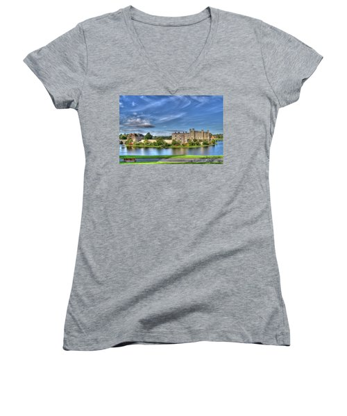 Bench View Of Leeds Castle Women's V-Neck T-Shirt