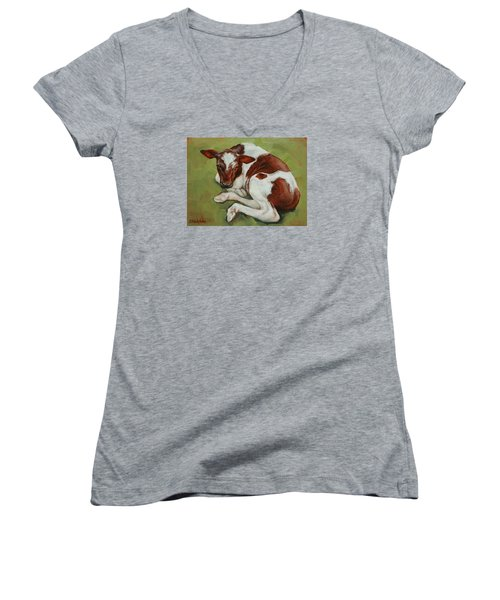 Women's V-Neck T-Shirt (Junior Cut) featuring the painting Bendy New Calf by Margaret Stockdale