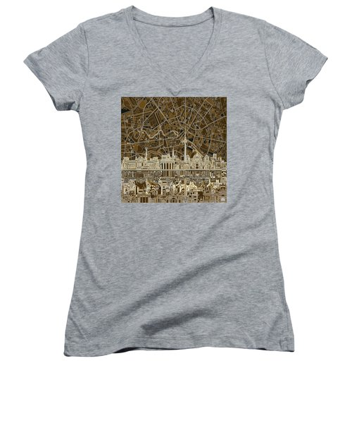 Berlin City Skyline Abstract Brown Women's V-Neck T-Shirt (Junior Cut) by Bekim Art