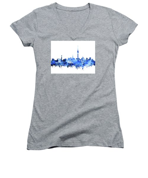 Berlin City Skyline Blue Women's V-Neck T-Shirt (Junior Cut) by Bekim Art