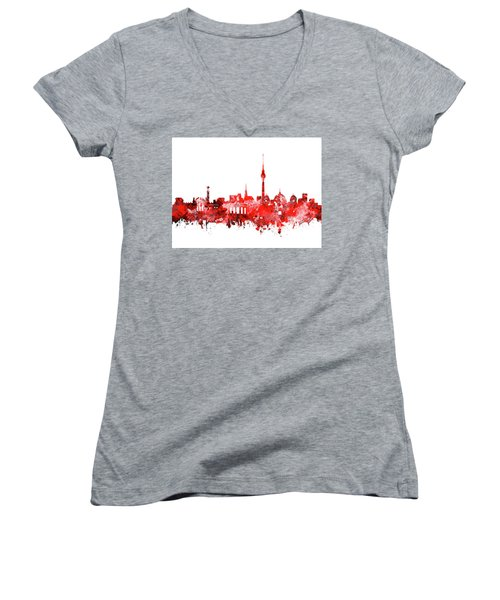 Berlin City Skyline Red Women's V-Neck T-Shirt (Junior Cut) by Bekim Art