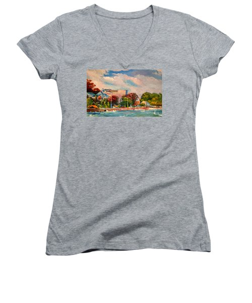Berlin Wall Women's V-Neck (Athletic Fit)