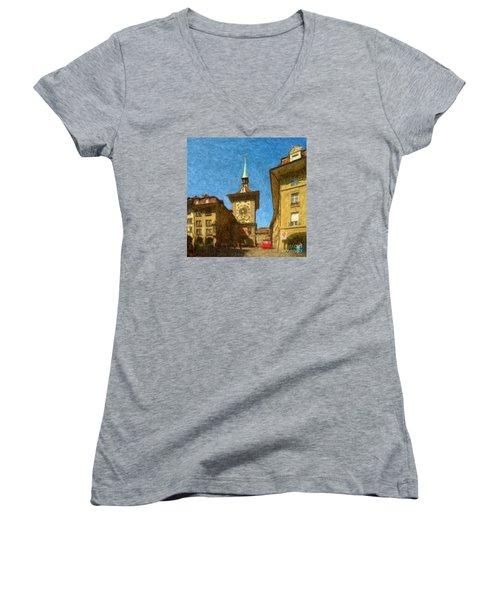 Bern Clock Tower Women's V-Neck T-Shirt (Junior Cut)
