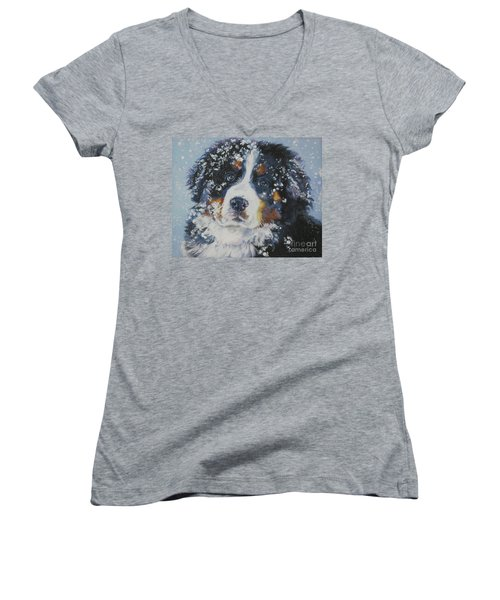 Bernese Mountain Dog Puppy Women's V-Neck T-Shirt (Junior Cut) by Lee Ann Shepard