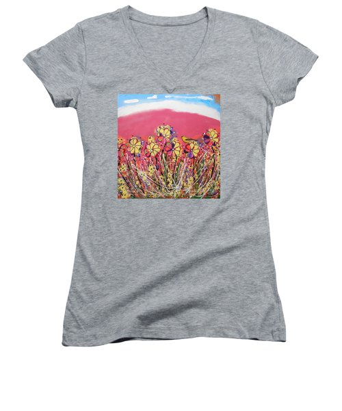 Berry Pink Flower Garden Women's V-Neck (Athletic Fit)