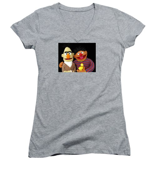 Bert And Ernie Women's V-Neck (Athletic Fit)