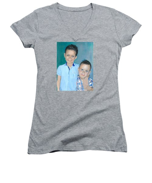 Best Brothers - Painting Women's V-Neck T-Shirt (Junior Cut) by Veronica Rickard