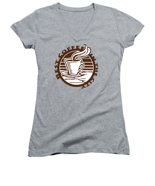 Women's V-Neck featuring the digital art Best Coffee In The City by Jennifer Hotai