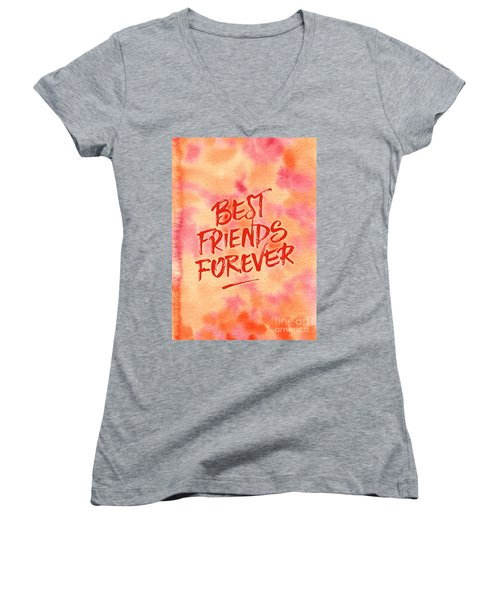 Best Friends Forever Handpainted Abstract Watercolor Pink Orange Women's V-Neck (Athletic Fit)