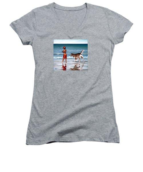 Best Friends II Women's V-Neck T-Shirt (Junior Cut) by Natalia Tejera