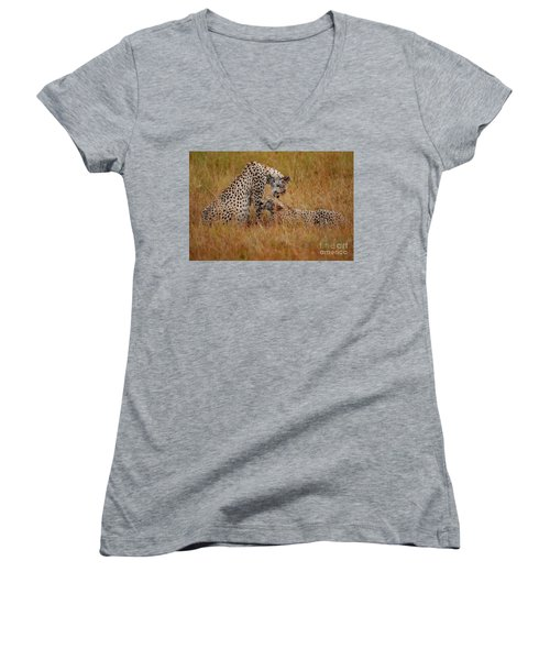 Best Of Friends Women's V-Neck T-Shirt (Junior Cut) by Nichola Denny