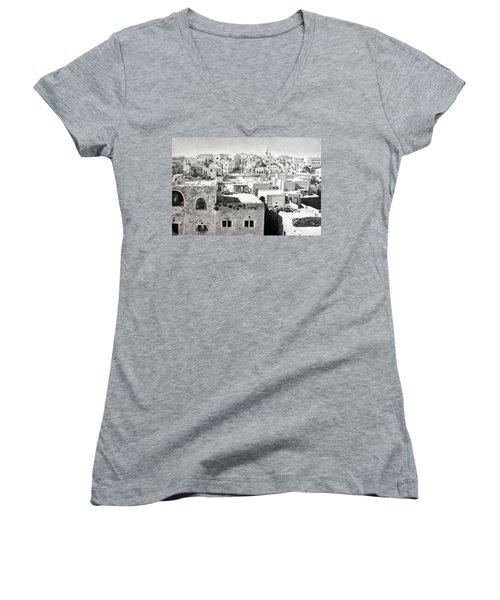Bethlehem Old Town Women's V-Neck T-Shirt