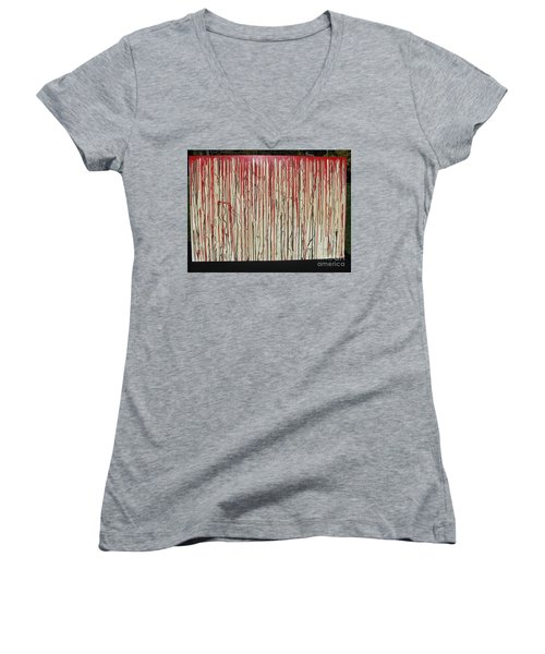 Women's V-Neck T-Shirt (Junior Cut) featuring the painting Betrayal by Jacqueline Athmann