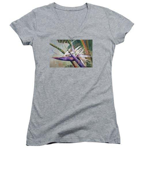 Betty's Bird - Bird Of Paradise Women's V-Neck T-Shirt (Junior Cut) by Roxanne Tobaison