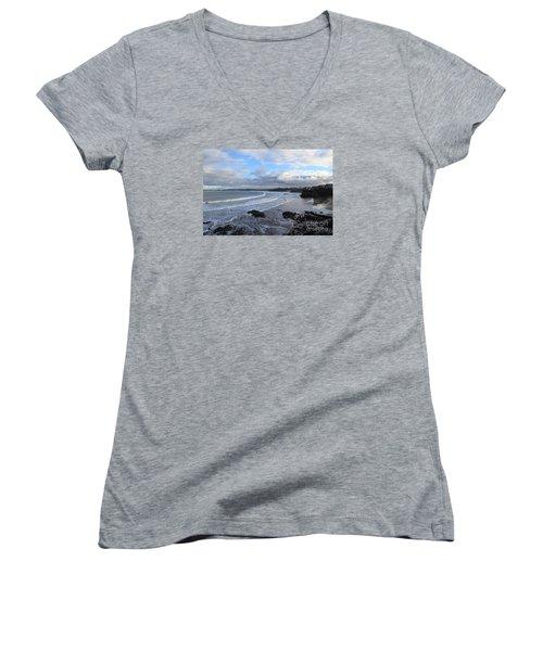 Between Cornish Storms 2 Women's V-Neck T-Shirt (Junior Cut) by Nicholas Burningham