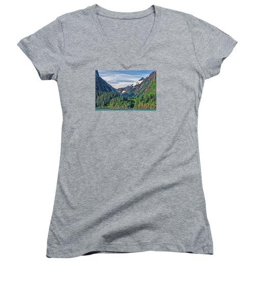Between The Peaks Women's V-Neck T-Shirt (Junior Cut) by Lewis Mann
