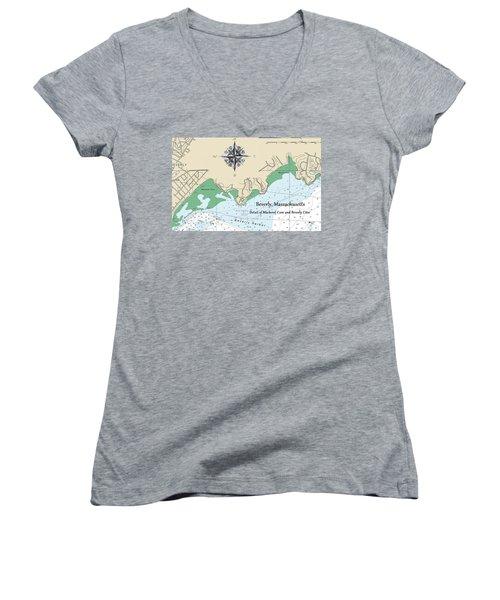 Beverly Cove Nautical Map Women's V-Neck