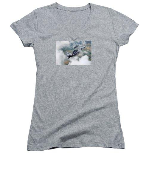 Beware Of Bulldogs Women's V-Neck T-Shirt (Junior Cut) by Peter Chilelli