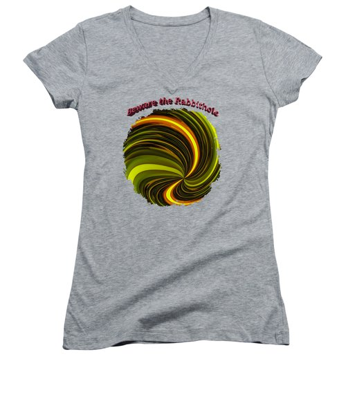 Beware The Rabbit Hole Women's V-Neck