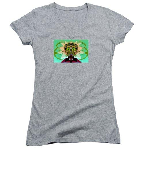 Ackrack - Interplanetary Women's V-Neck T-Shirt (Junior Cut) by Jim Pavelle