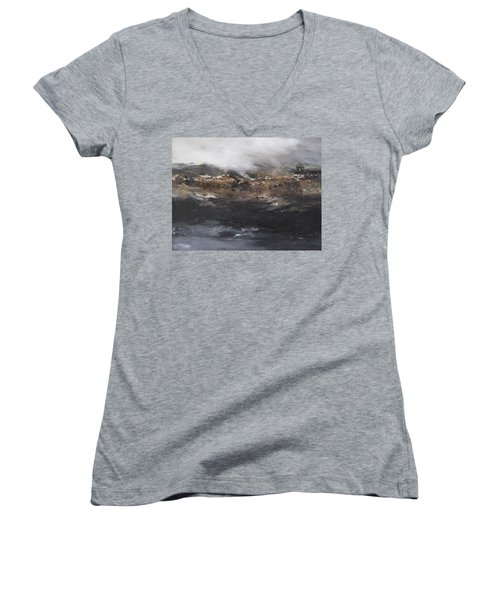 Beyond The Cliffs Women's V-Neck T-Shirt (Junior Cut) by Roberta Rotunda