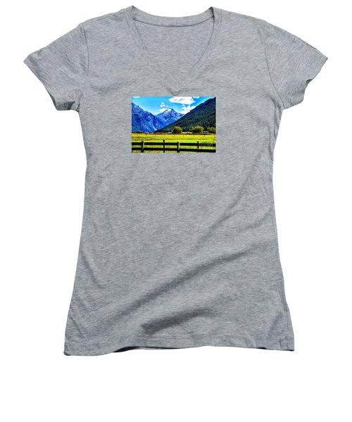 Women's V-Neck T-Shirt (Junior Cut) featuring the photograph Beyond The Fence by Rick Bragan