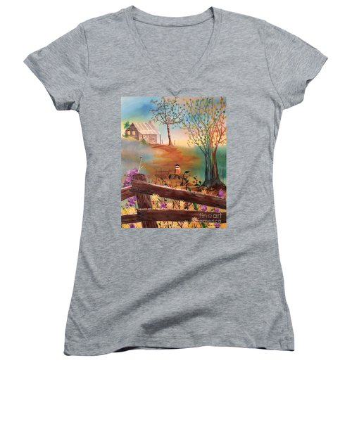 Women's V-Neck T-Shirt featuring the painting Beyond The Gate by Denise Tomasura