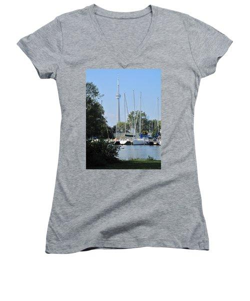 Beyond The Trees  Women's V-Neck T-Shirt (Junior Cut) by Ian  MacDonald