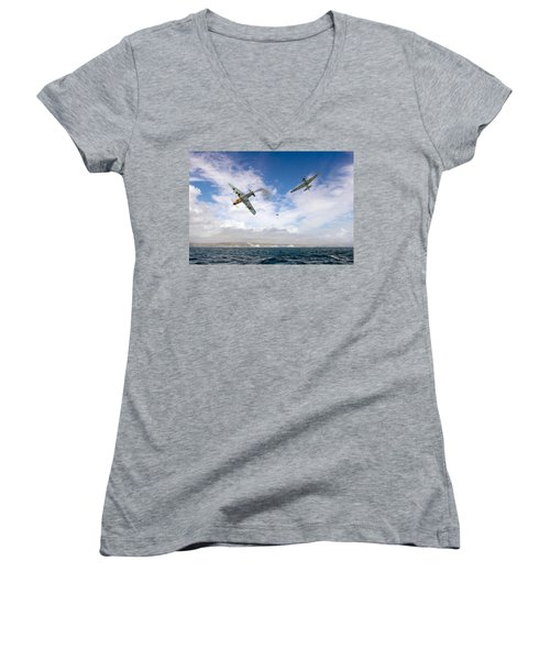 Women's V-Neck T-Shirt (Junior Cut) featuring the photograph Bf109 Down In The Channel by Gary Eason